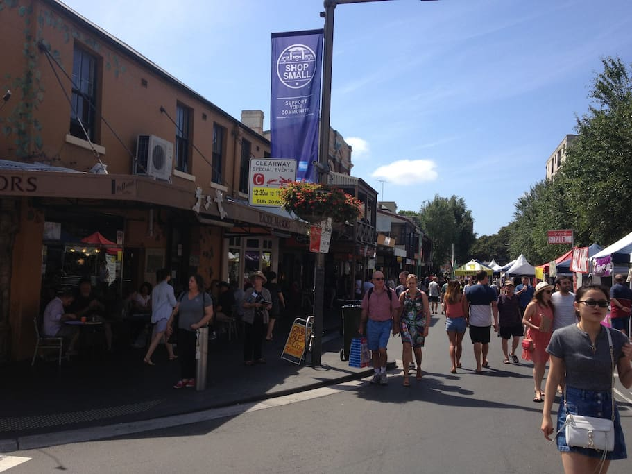The local neighbourhood - Glebe Point Road during recent street fair. Glebe is famous for its cafe culture!