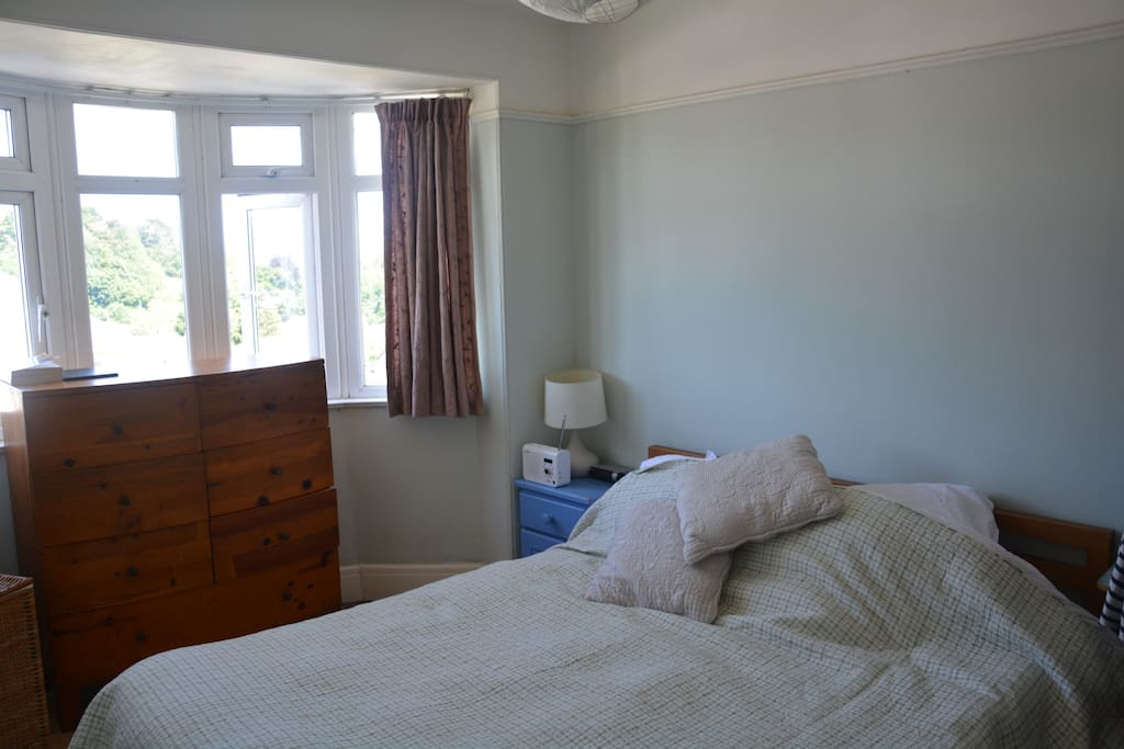 One of the double bedrooms. The house has two double bedrooms and 1 single bedroom. There are also  two roll out mattresses and a travel cot as well.