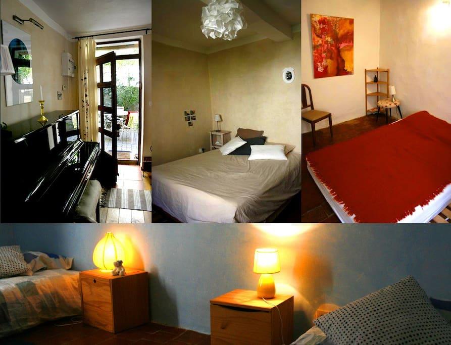 piano au rdc, deux chambres doubles au 1 et 2 avec sdb, chambre (2 lits simples) au 2 éme étage