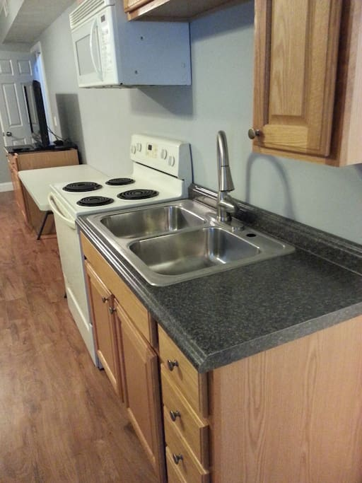 Kitchenette with Kitchen sink, stove, microwave and refrigerator (not in picture but has a small one)