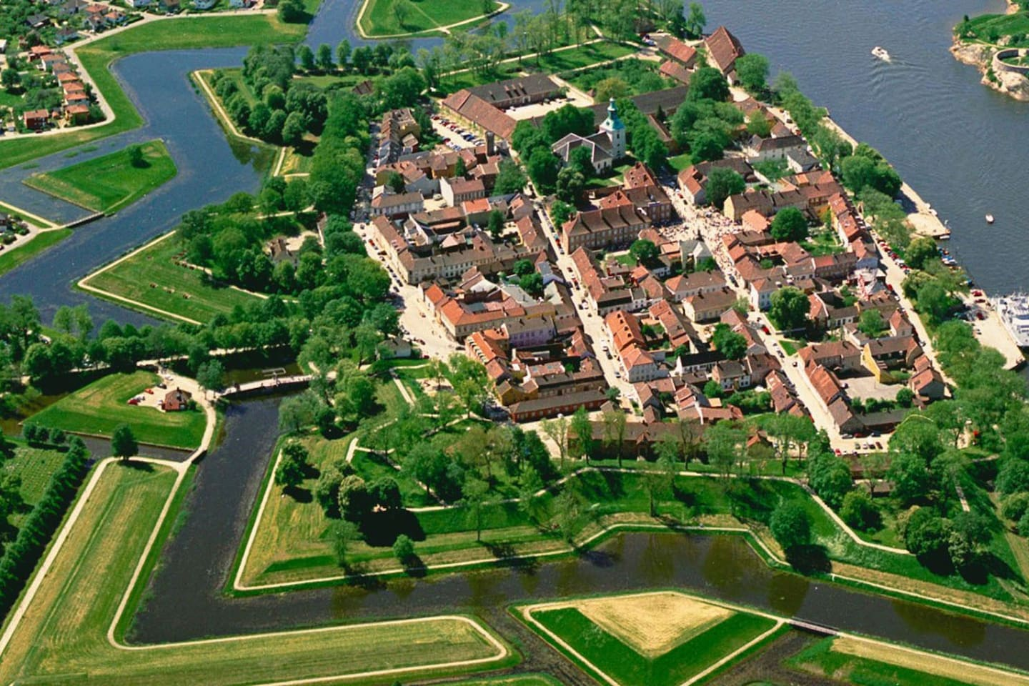 Ariel shot of the Old Town in Fredrikstad.