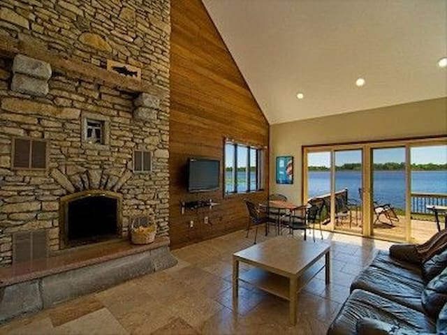 Family room has a wood burning fireplace.