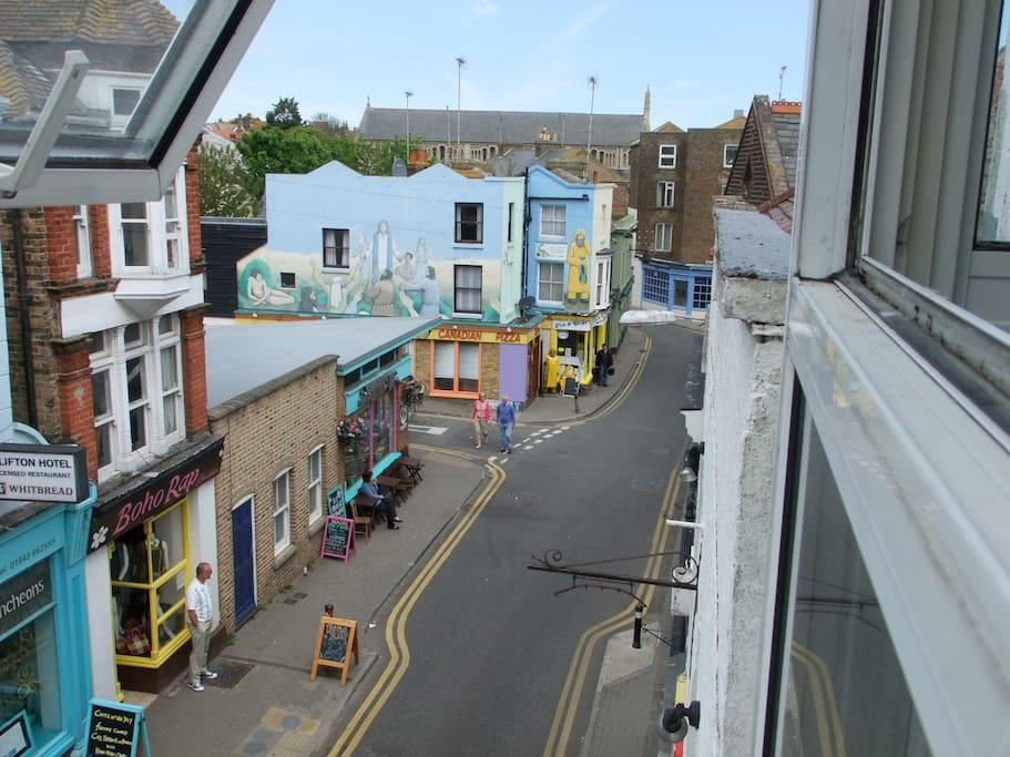 View down Albion Street from the twin room