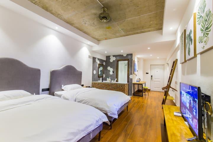 告庄一室40平米高层双床公寓(可住2人,连住三晚免费接机)