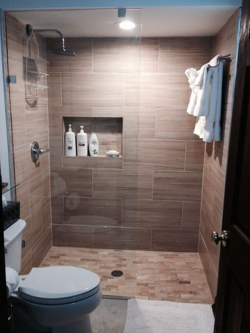 New bathroom with rain shower