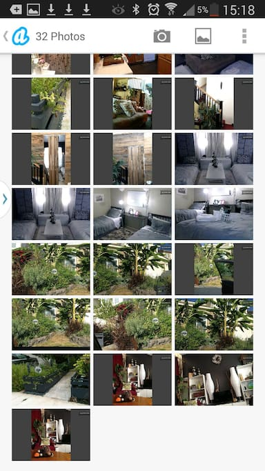 This is a collage of other rooms, front yard, kitchen.