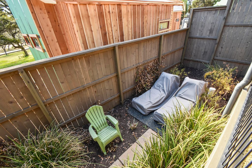 Lounge in the fenced-in yard area