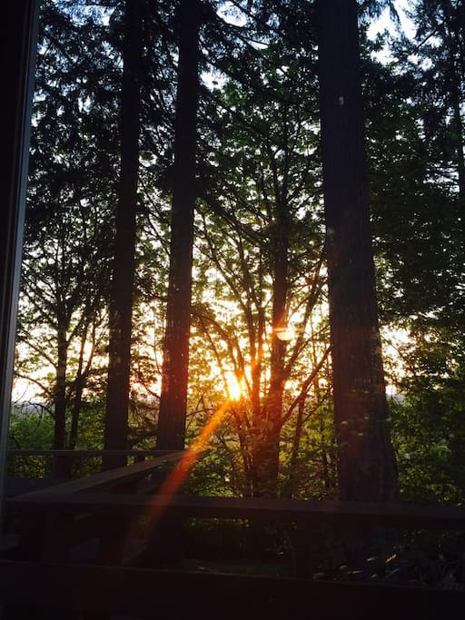 Enjoy the sunset through the trees from the spacious deck.