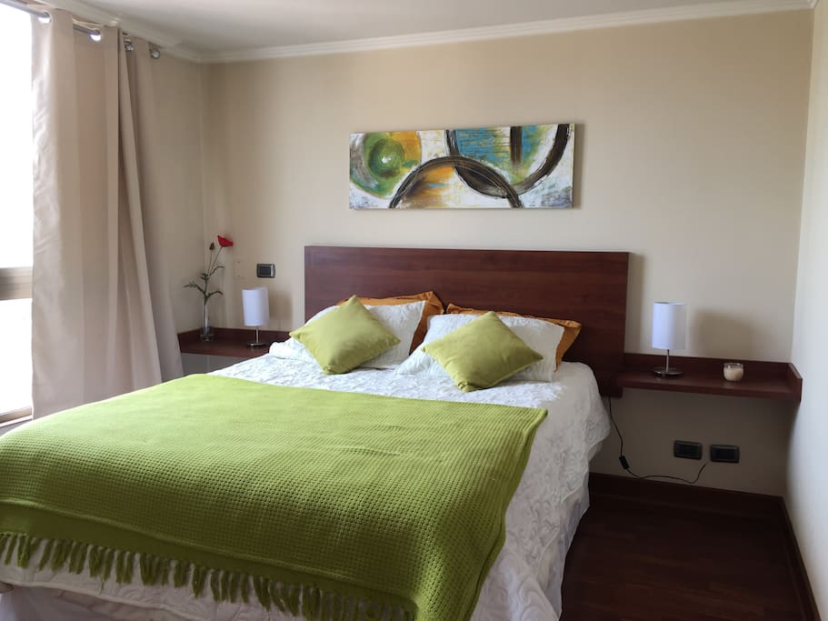 Comfortable double bedroom with private bathroom and Blackout curtains