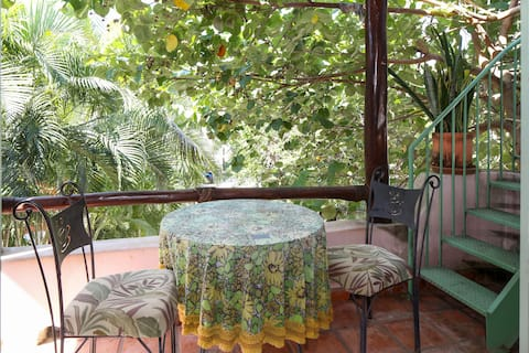 Casita Palapa is a breezy bohemian rooftop apt.