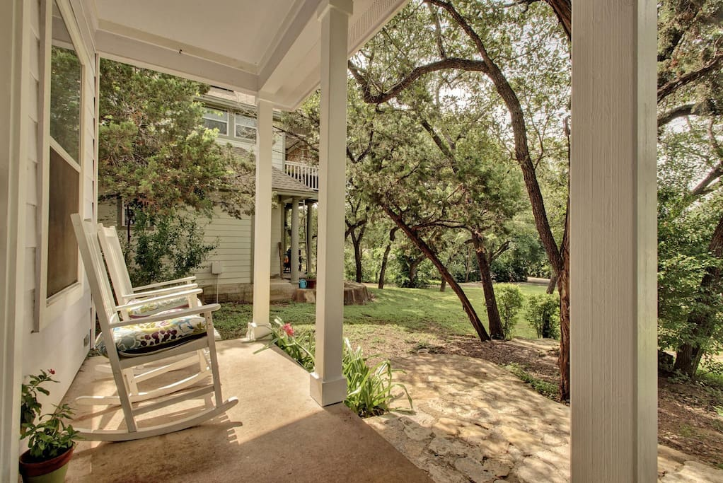 This gorgeous porch view pairs well with a cup of coffee, good book, or glass of wine.