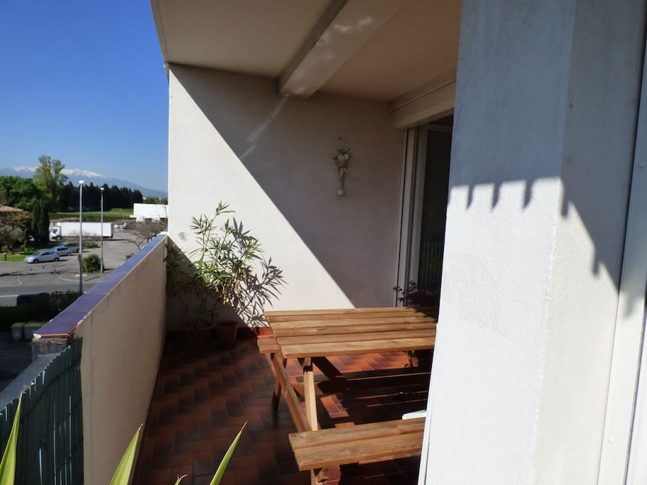 terrasse plein sud vue sur jardin arboré et sur le canigou