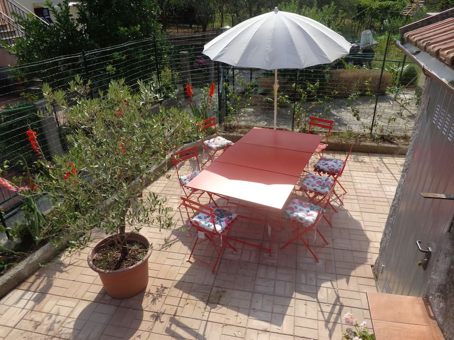The enclosed patio area