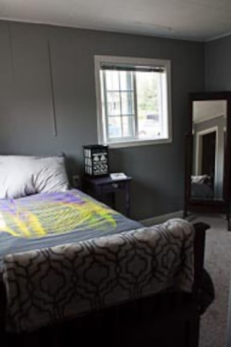 Different angle of the twin room set for 1 person, showing full length mirror (taken from standing inside the closet, which you can see in the reflection on the mirror).