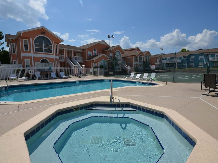 One of two on-site pools/hot tubs