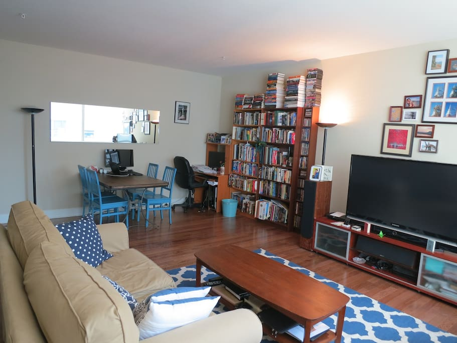 We have a big-screen TV, PS3, cable TV, high-speed Internet, and a dining table that can seat six. And yes, we like books.