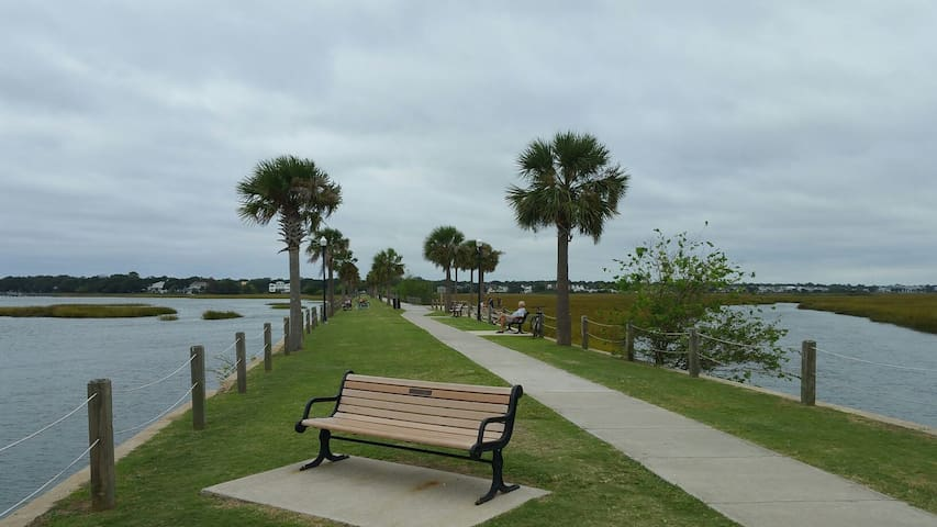 The Pitt Street Bridge and park is about a mile away and has great views of the harbor and Sullivan's island.