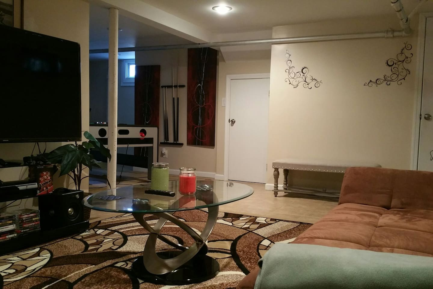 Living room is spacious,  WiFi availability great decor, feel right at home.