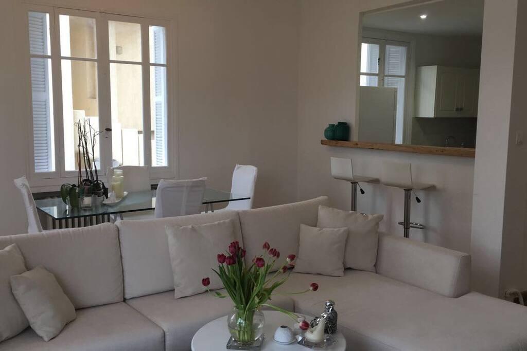 Salon  contemporain ouvert sur une terrasse ou vous pouvez prendre l apéritif ou bien manger