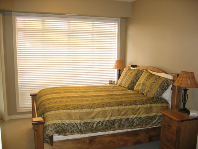 Master bedroom c/w ensuite and patio access