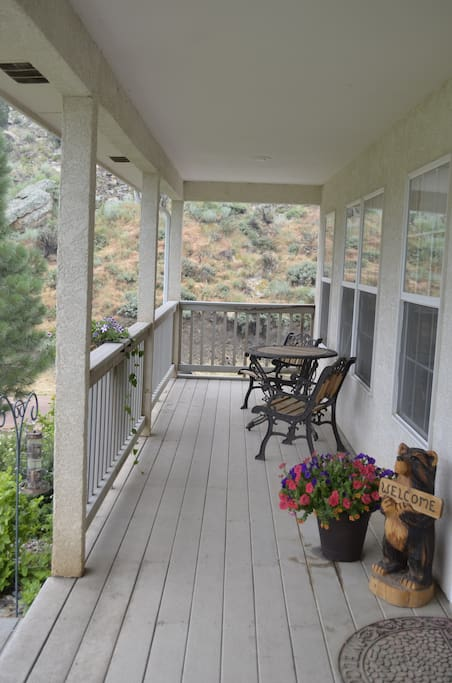 front porch; one side of the three sided porch.