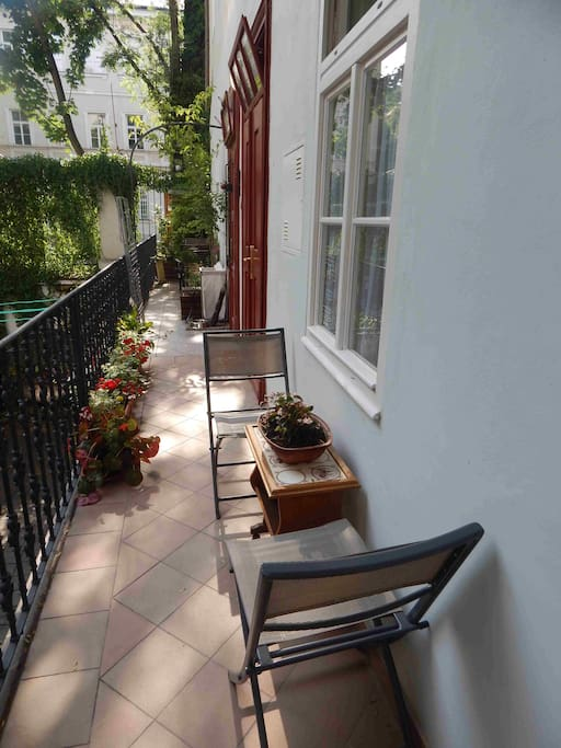 THE ACCESS TO THE APARTMENT VIA TERRACE