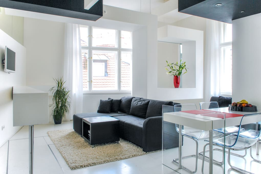 Bright designer flat in the old town apartments for rent for Designer apartment prague