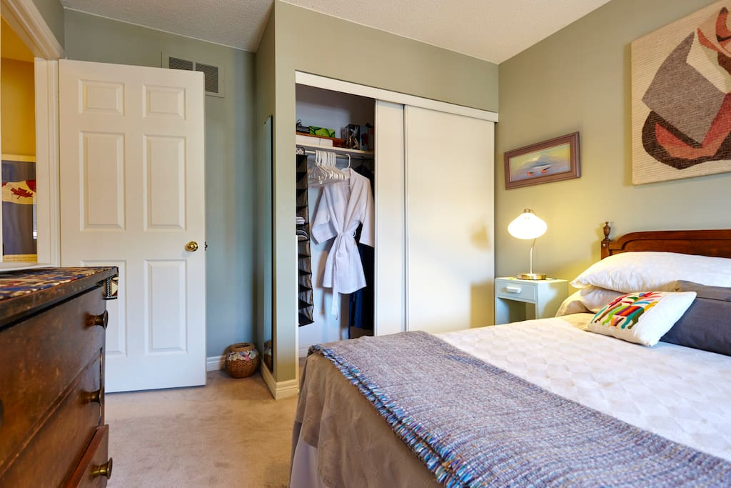 Plenty of closet and drawer space PLUS bathrobes for your use here!