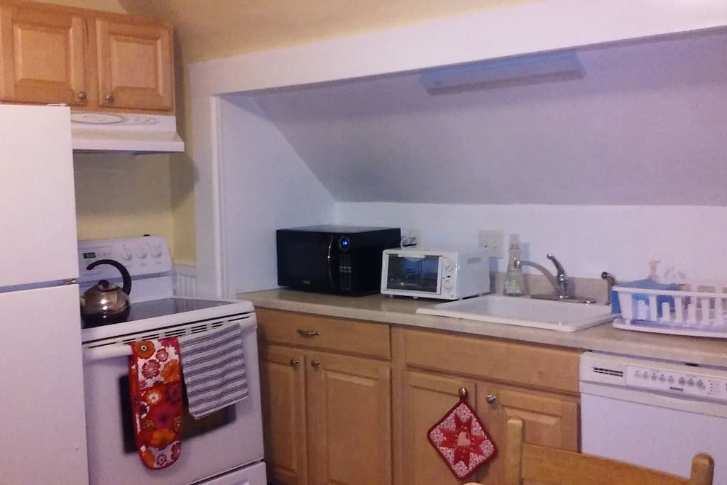 Kitchen stove, microwave, toaster oven dishwasher