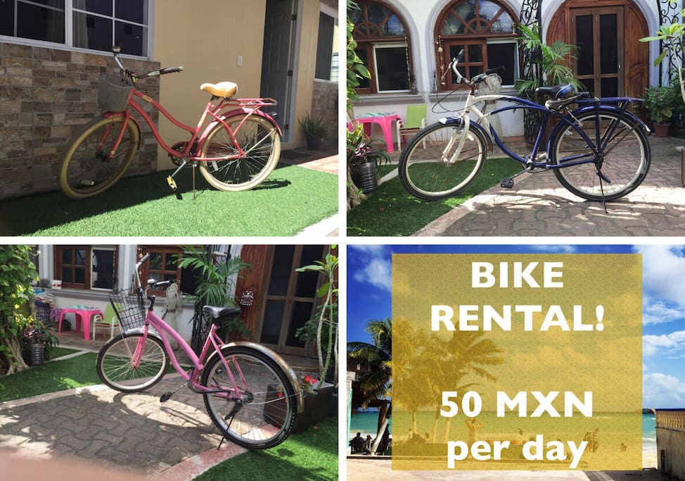 We offer bike rental service for 50 pesos per day and 500 pesos as refundable deposit.