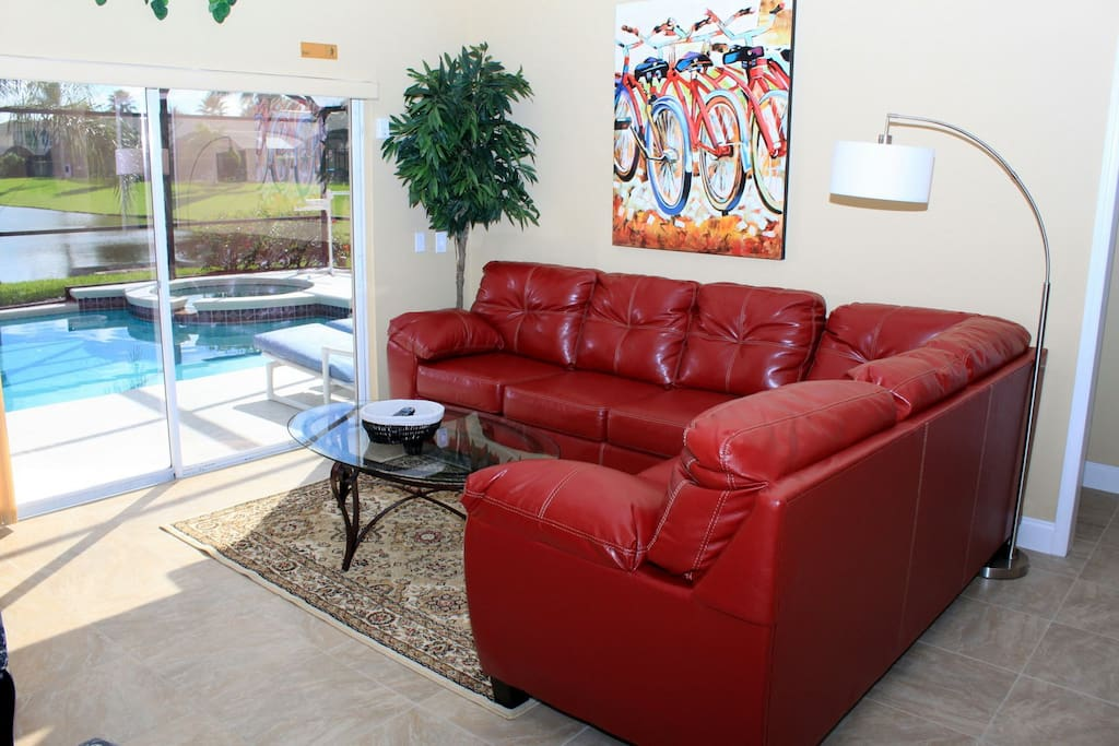 Picture of the family room which leads to the pool area.