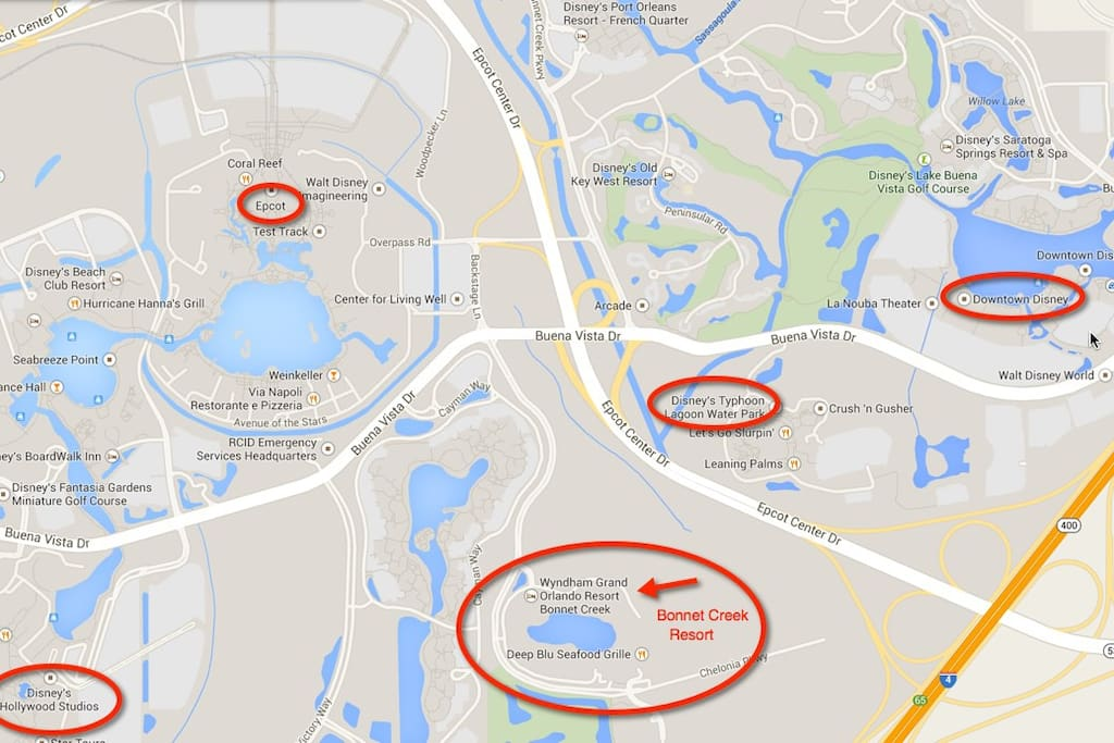 See the proximity of Bonnet Creek to the Disney Parks.