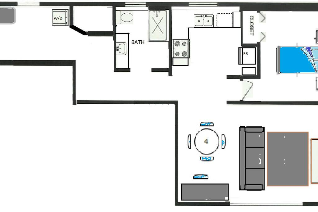 FLOOR PLAN. Entry foyer and laundry room on left. bedroom and living room on right.