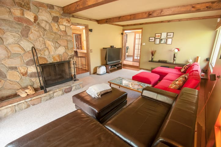 Fireplace in living room. Two cozy couches, cable tv.