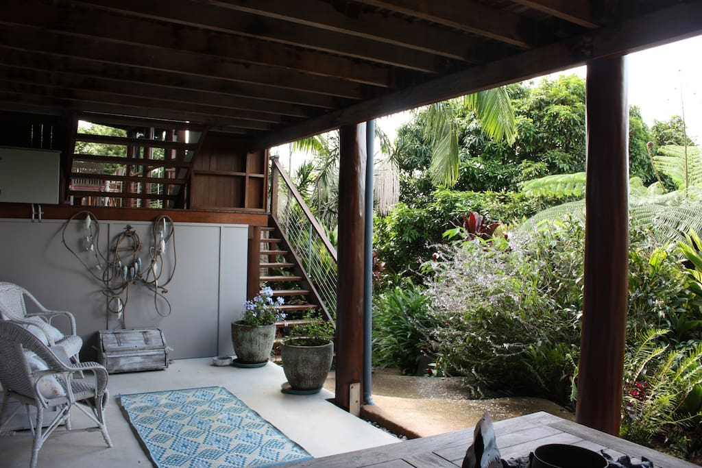Open verandah adjacent to room looking onto garden