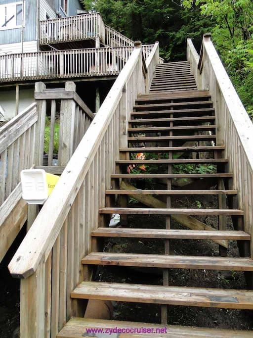 Please be aware, that there are 57 stairs here, but they do offer a good bit of privacy from other Ketchikan travelers who are often looking at the creek below the cottage in hopes of seeing salmon.