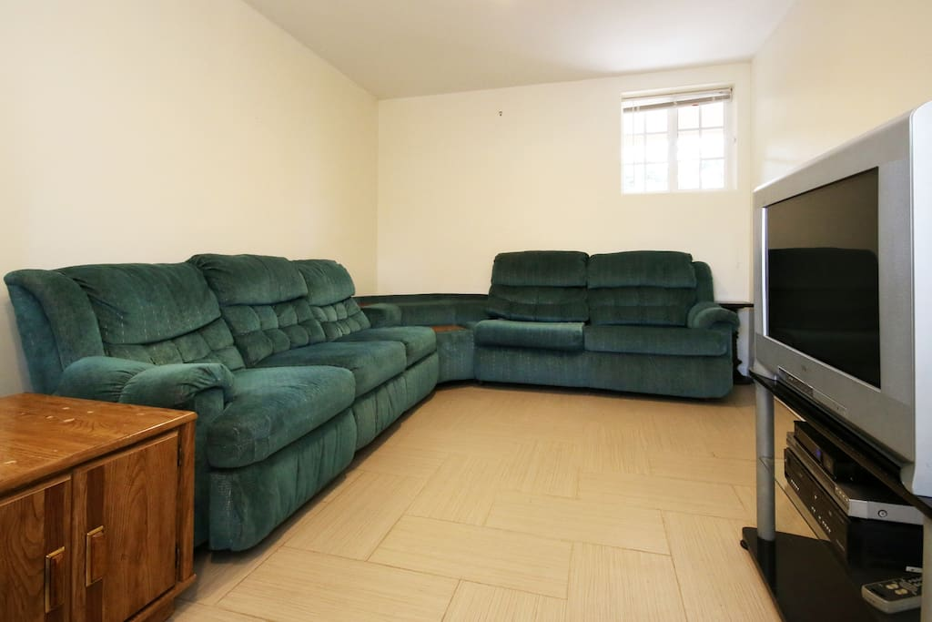 Sectional sofa has 2 recliners and a full size sleeper
