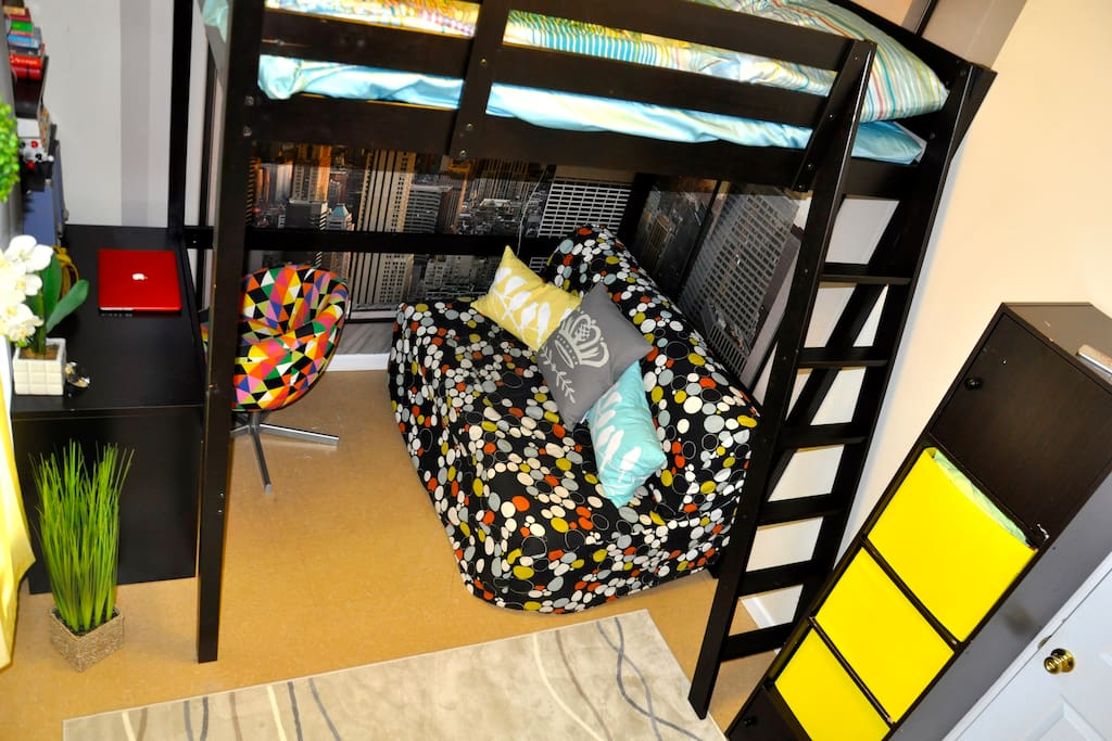 Queen size loft bed, pull out queen size sofa under the loft bed