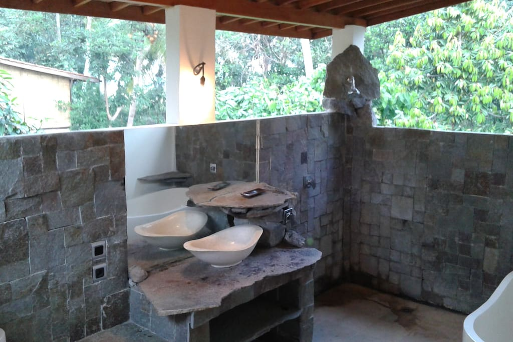 Upstairs Stone Bathroom private and open to nature