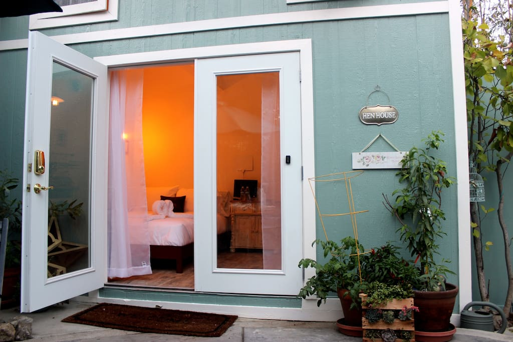 We have beautiful french doors that open up into our garden!