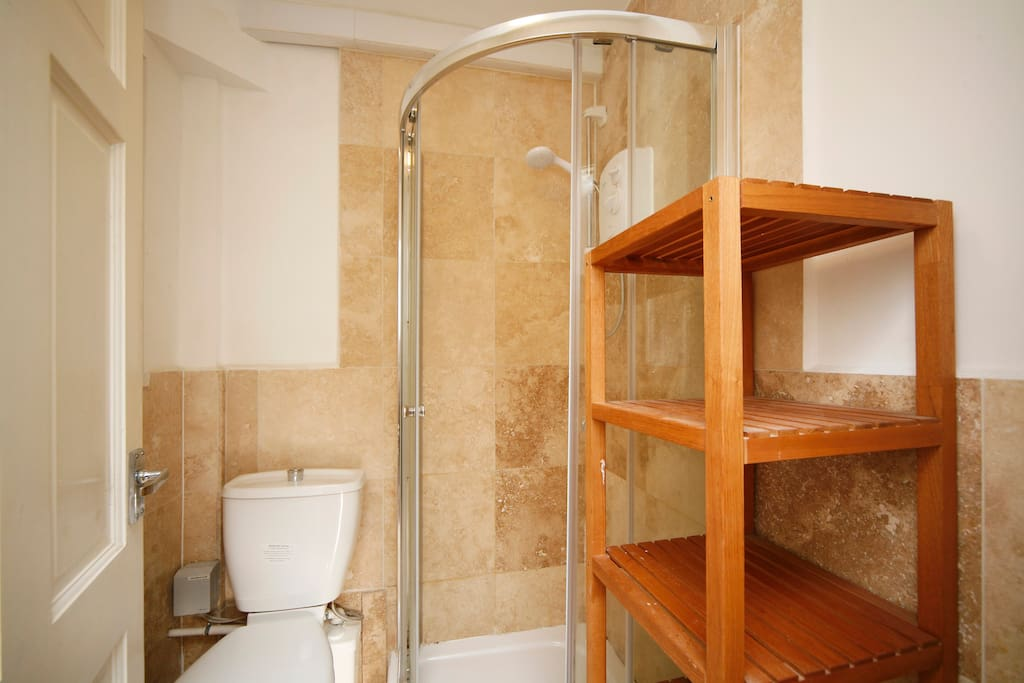 Private bathroom with shower cubicle , wash basin and toilet