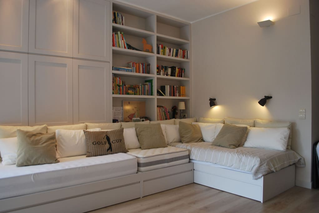 The large sofa can be transferred into two comfortable single beds