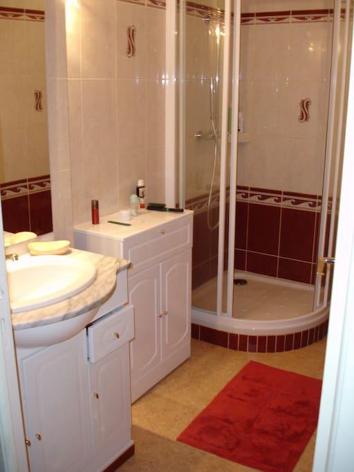 salle de bains douche lavabo neuve.