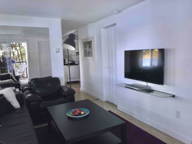 Pictured here is a TV in the living area… we do not have Wi-Fi or Internet. Lots of DVDs to enjoy!
