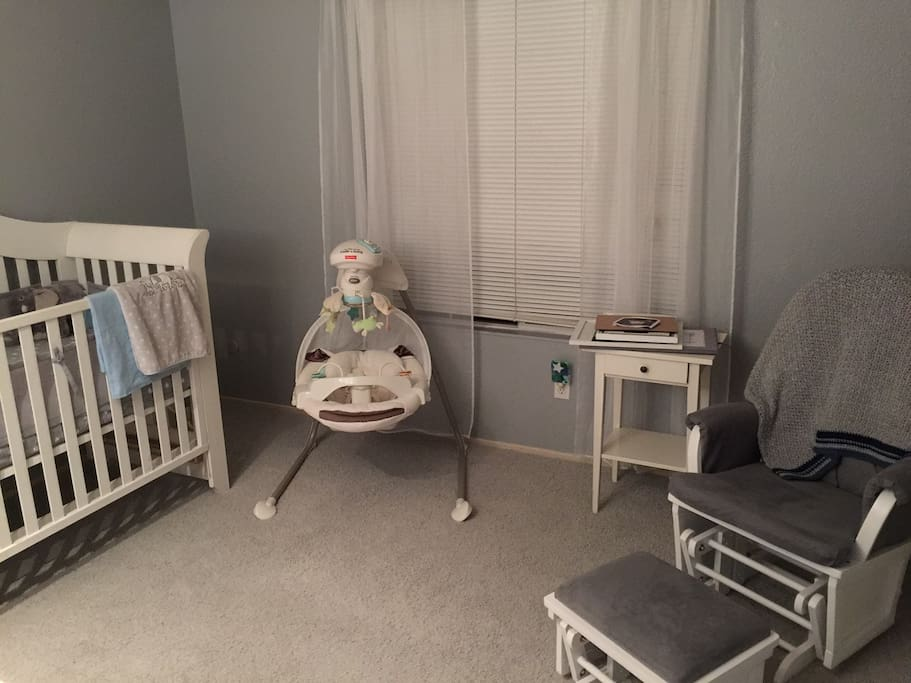 Nursery can be used for an infant, or a blow up mattress can be placed on the floor.