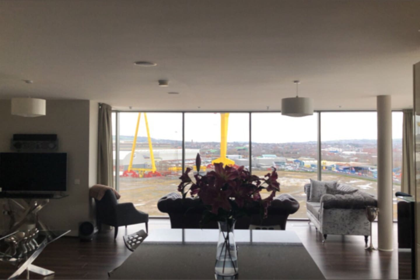 Huge living area with spectacular views over Belfast