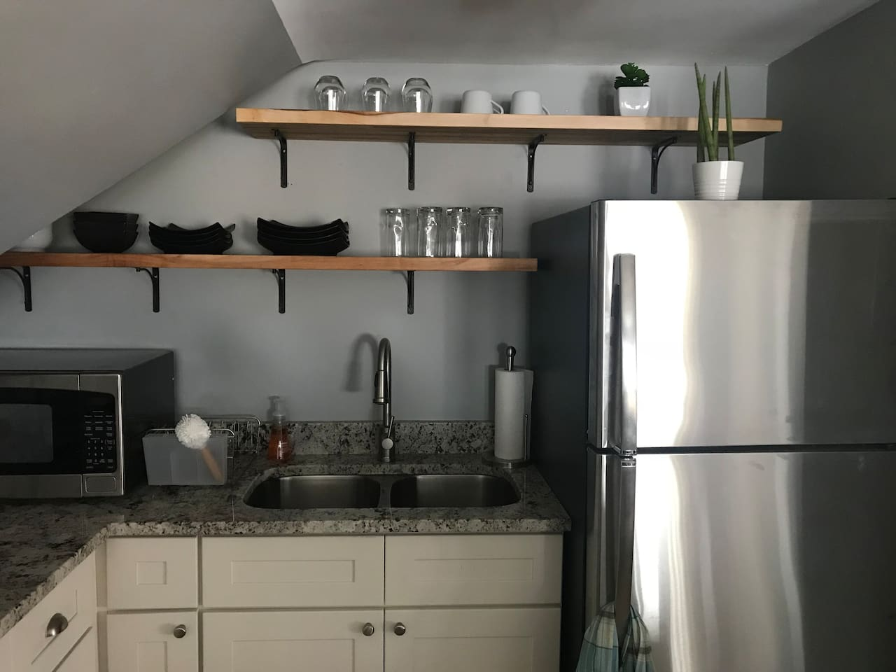 Brand new kitchen!  Beautiful everything!  Fridge, gas stove, microwave and coffee maker.