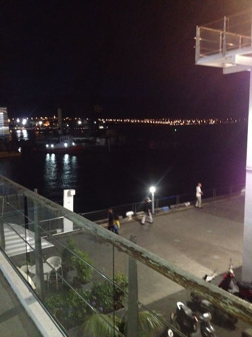 View at night from side balcony