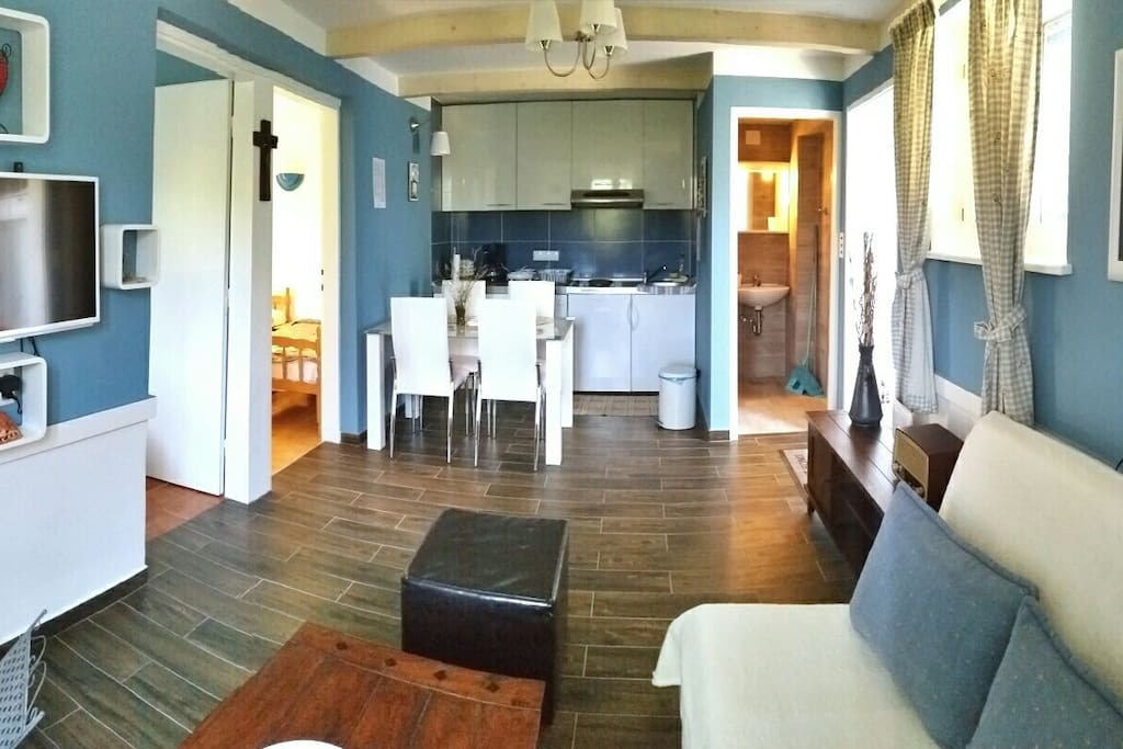 Living room with dining room