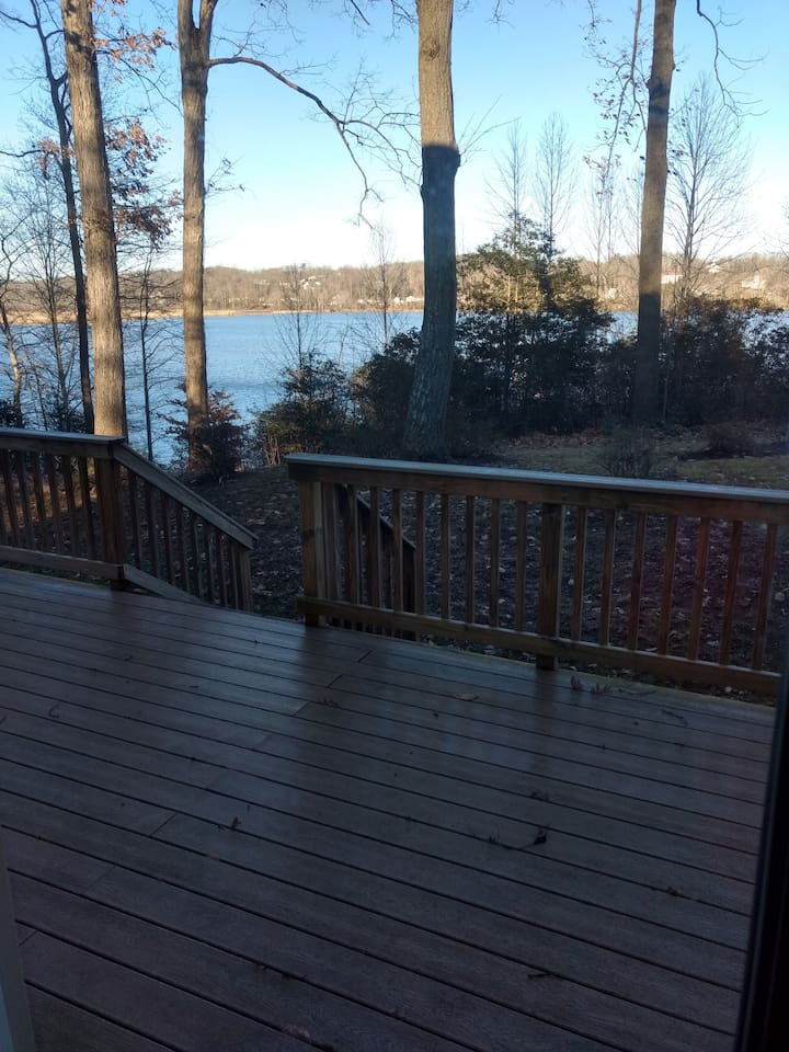 Water view from living area out door to deck